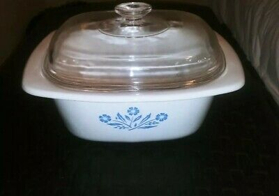 Corning Ware Blue Cornflower Pattern Vintage Dutch Oven With Lid 4 Quart P 34-B