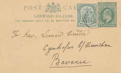 Leeward Islands /Montserat - mixed stamps 1910: post card to München/Germany