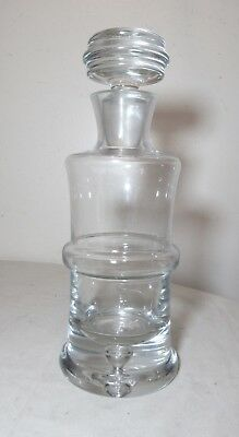 vintage mold blown clear thick crystal glass liquor wine decanter glass bottle