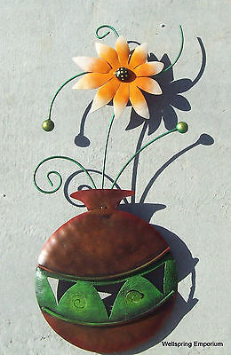 """Vase, Green Stems and Orange Flower 22"""" Wall Art Handcrafted Porch Patio Indoor"""
