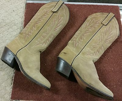 271751171dc TEXAS BRAND BEIGE Suede Leather Cowboy Boots Size 5.5 M Style 4906 Usa(C1-1)