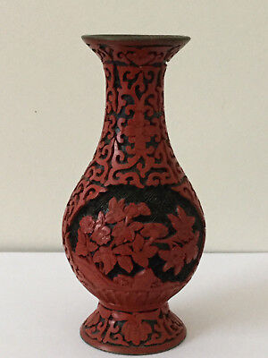 Vintage Chinese Hand Carved Cinnabar On Brass Scenic Vase