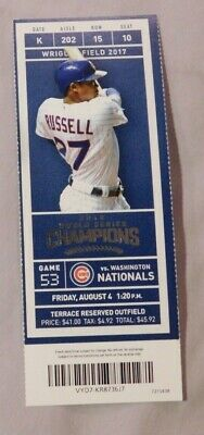 2017 Chicago Cubs Vs Washington Nationals 8/4/17 unused Ticket