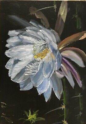 "Oil Painting, Floral, STAR OF THE NIGHT, Cereus 5x7"" Schelp"
