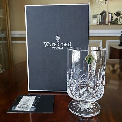 "Waterford Crystal LISMORE 6"" Simplicity Footed Vase Hurricane Pillar Candle Mint"