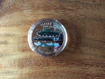 2019 75th anniversary of D-Day coloured Five Pound Coin, Guernsey £5 in capsule