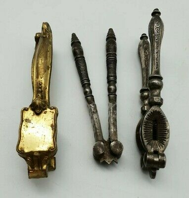 Antique Victorian / Edwardian Handheld Nut Crackers Early 20th Century X3 Sets