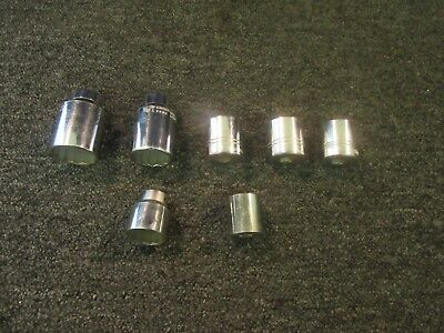 "7 Large Sockets 1/2"" Drive 12 Point SAE Metric 1-3/8"" 27 31 MM Wright Williams"