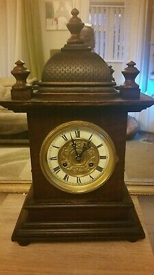 Antique Junghans Bracket Clock With Key And Pendulum, Working