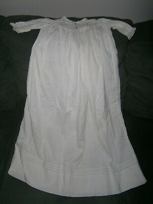 Antique Victorian Christening Gown Child's Baby Dress Cotton Lace Trim