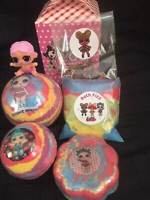 Lol Surprise Doll/Lil Sis /4 Bath Bomb Gift Set/charm/Bath Time Fun/b Day Gift
