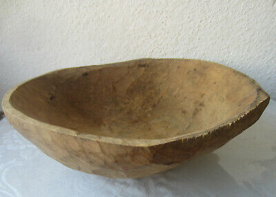 """25"""" hand-hewn antique Primitive Wooden Trencher Dough Bowl, wood, old"""
