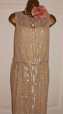 Vintage 1920's Style Gatsby Flapper Charleston Downton deco bead sequin dress 12