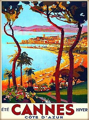 Grasse Cannes French Riviera France Vintage Travel Advertisement Poster Print