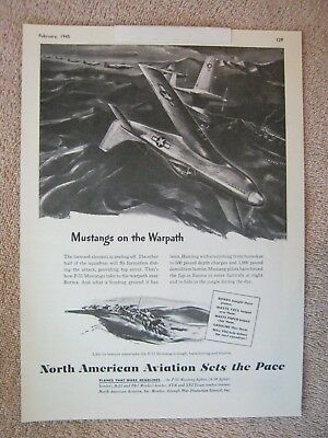 Vintage 1945 WWII North American Aviation P-51 Mustang Fighter Aircraft Print Ad