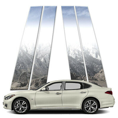 4p Stainless Pillar Post Covers fits 2015-2018 Infiniti Q70L by Brighter Design