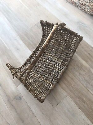 Large wicker log basket with handle