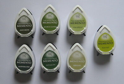 Memento Ink Pads Dew Drop x 7 - Shades of Green - New.