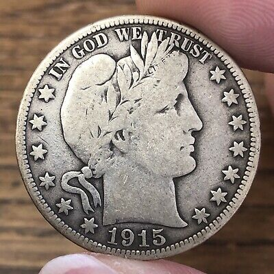1915-D Barber Half Dollar Nearly FULL LIBERTY Natural Great FINE QUALITY & VALUE