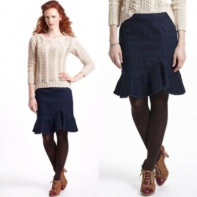 3940c11e0d Anthropologie Leifsdottir Lana Denim Blue Ruffle Tulip Hi/Lo Pencil Skirt 4