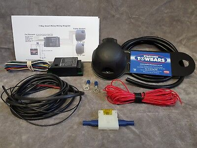 Towbar Wiring full Kit 7 Pin Socket plug TEB7AS wires Bypass Relay Instructions