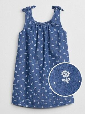 Baby Gap Girl's Chambray Floral Tie Tank Dress Size 4T 5T