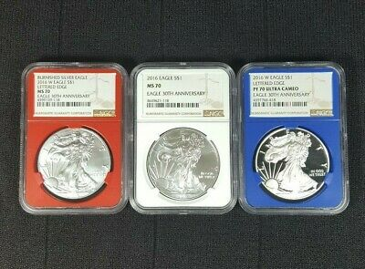 Custom American Silver Eagle 30th Anniv. 3 Coin Set NGC PF70/MS70/MS70 Burnished