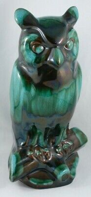 """Vintage Blue Mountain Pottery Traditional Green Glaze 10"""" h Perched Owl"""