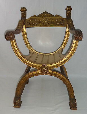 Vintage Decorative Gold Gilt Italian Arm Chair Egyptian Revival 20th Century