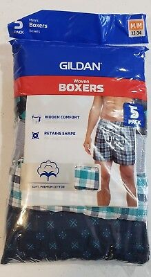 Gildan Men's 5 Pack Boxers Size Medium 32-34 NEW Soft Premium Cotton