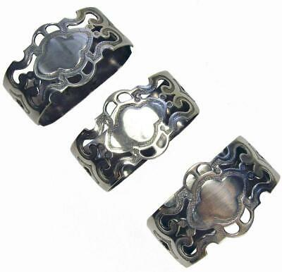 Stokes Napkin Rings Silverplated EPNS Antique Set 3
