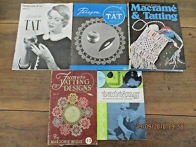 ~5 x VINTAGE TATTING INSTRUCTION BOOKS - GC~