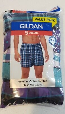Gildan Men's 5 Pack Boxers Size Small 28-30 NEW Premium Cotton Comfort