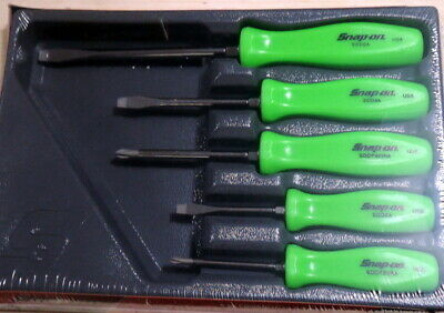 New Snap On 5 Piece Green Hard Handle Screwdriver Set SDDX50AG