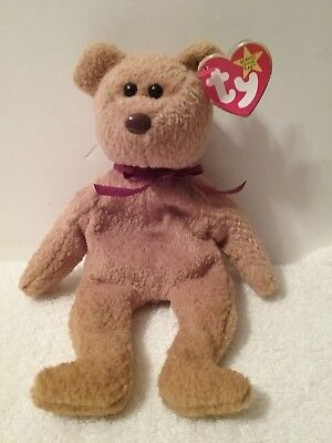 b8967afb750 1996 TY ORIGINAL Beanie Babies CURLY Brown Bear Red Ribbon Retired ...
