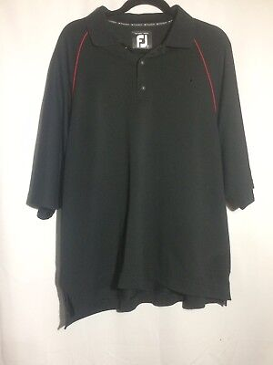 Prodry Pique FootJoy FJ Mens Titleist Short Sleeve Polo Collared Shirt Black Red