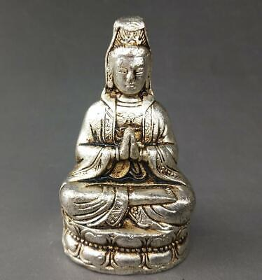 chinese old Tibet silver hand-carved a buddism godness Guanyin Buddha statue a01