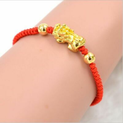 Chinese Feng Shui Pi Xiu Gold Red String Kabbalah Bracelet Evil Eye Protection