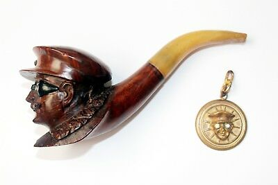 c.1905 WOODEN SMOKING PIPE WITH MOTORIST FACE and BRONZE MOTORIST KEYCHAIN