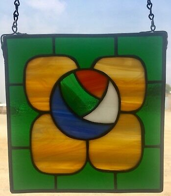 """Flower - Stained Glass Window Panel Hanging - (8"""" X 8"""")"""