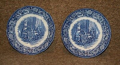 """2 Vtg Liberty Blue Staffordshire Little Bowls Betsy Ross Made in England  5"""" dia"""