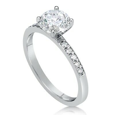 1.55 Ct Round Cut F/vs1 Diamond Solitaire Engagement Ring 14K White Gold