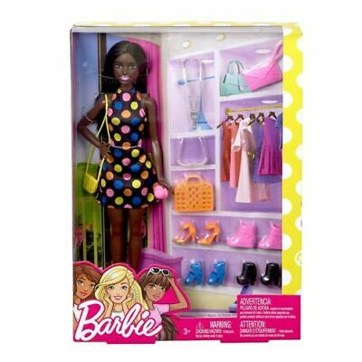 Mattel Barbie Doll and Accessories (Brunette, African American)
