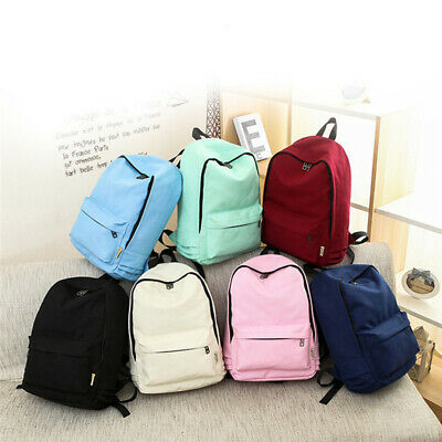 Ladies Canvas Pure Color Backpack Casual Girl Backpack Stylish Travel Bag BS