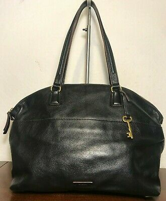 a46a6b30a FOSSIL Julia Black SHB1379 Leather Satchel Shopper Tote Carryall Purse Bag