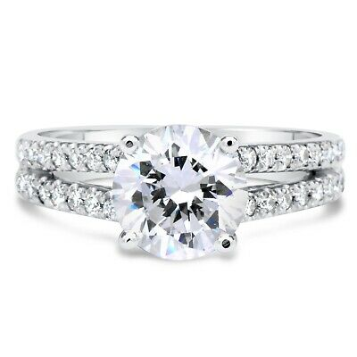 2.90 Ct Round Cut F/vs2 Diamond Solitaire Engagement Ring 14K White Gold