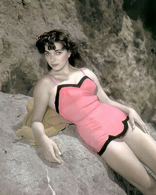 """JOAN COLLINS HOLLYWOOD MOVIE STAR ACTRESS  8x10"""" HAND COLOR TINTED PHOTOGRAPH"""