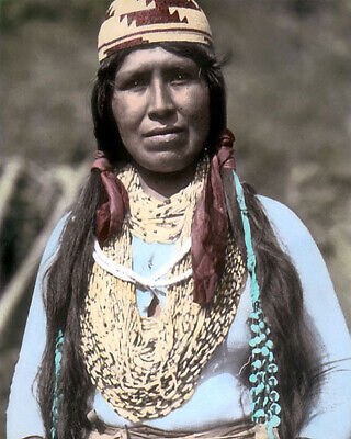 """ALICE FRANK YUROK NATIVE AMERICAN INDIAN 1907 8x10"""" HAND COLOR TINTED PHOTOGRAPH"""