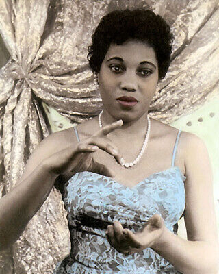"MARY LEONTYNE PRICE 1953 AFRICAN AMERICAN SINGER 8x10"" HAND COLOR TINTED PHOTO"