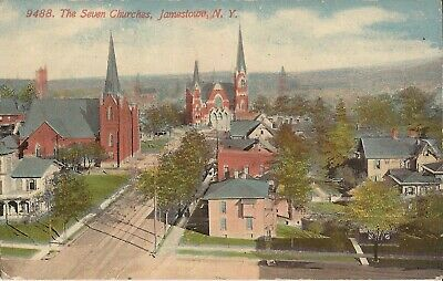 Jamestown, NEW YORK - Seven Churches -  Birdseye - 1912 - steeples